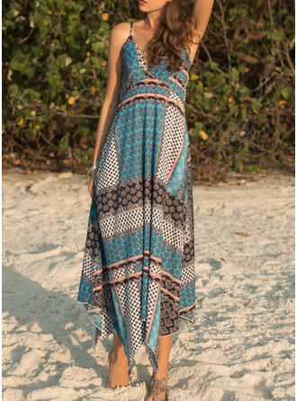 Patchwork Sleeveless A-line Asymmetrical Casual/Vacation Dresses