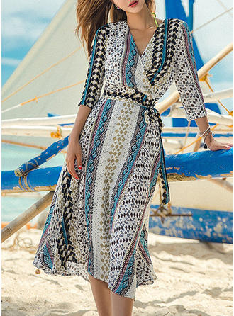 Tropical Print V-neck Fashionable Cover-ups Swimsuits