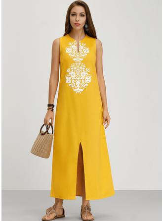 Print Sleeveless Shift Maxi Boho/Vacation Dresses
