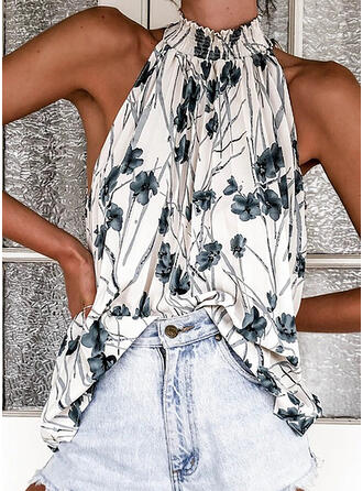 Print Stand collar Sleeveless Casual Sexy Tank Tops