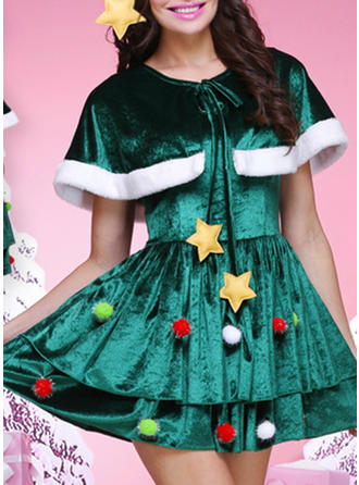 Color Block Short Sleeves A-line Above Knee Christmas Dresses