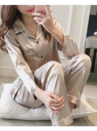 Koszula z kołnierzykiem Długie rękawy Jednolity kolor Prosty Zestawy piżamowe