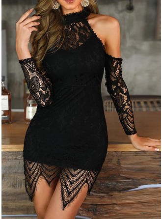 Lace/Solid Long Sleeves/Cold Shoulder Sleeve Bodycon Above Knee Little Black/Party/Elegant Dresses