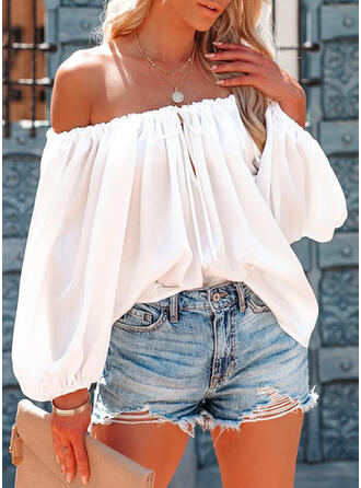 Solid Lace-up Off the Shoulder Long Sleeves Casual Blouses