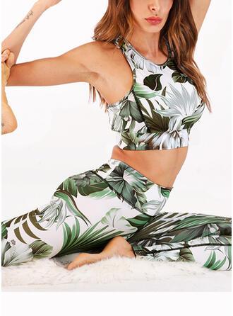 Round Neck Sleeveless Print Leaves Sports Leggings Sports Bras
