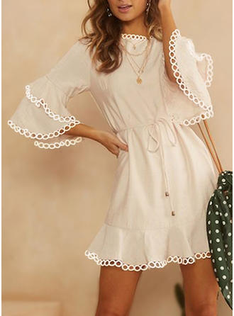 Lace/Solid Flare Sleeves A-line Above Knee Casual Dresses