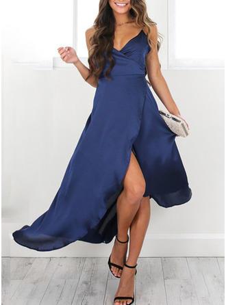 Color-block V-neck Asymmetrical A-line Dress