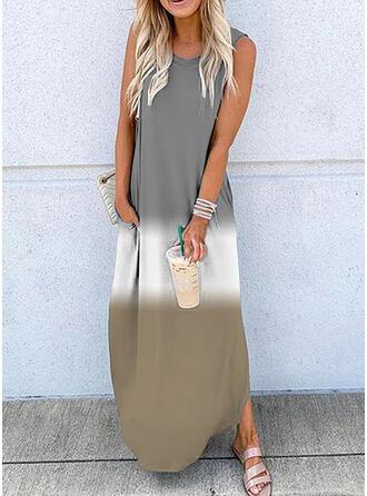 Color Block Sleeveless Shift Casual Maxi Dresses