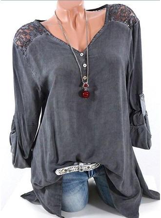Cotton Blends V Neck Plain Long Sleeves Shirt Blouses