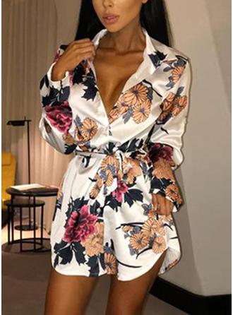 Print Floral Shirt collar Above Knee A-line Dress