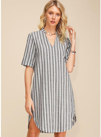 Striped 1/2 Sleeves Shift Knee Length Casual/Elegant Dresses