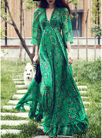 Cotton With Stitching/Print Maxi Dress