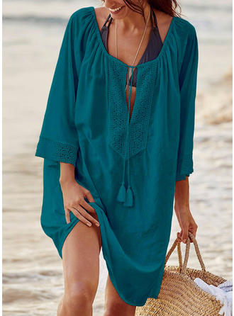 Solid Color U Neck Elegant Cover-ups Swimsuits