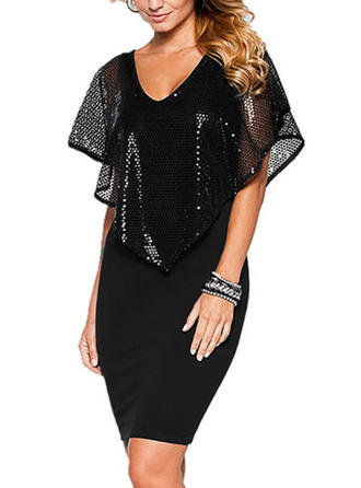 Sequins/Solid Bodycon Above Knee Little Black/Party Dresses