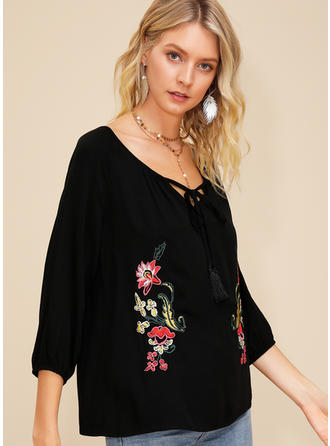 Embroidery Floral V neck 3/4 Sleeves Casual Blouses