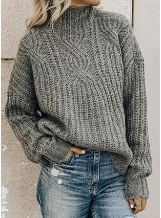 Solid Cable-knit Chunky knit Stand Collar Sweaters