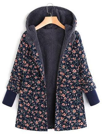 Bawełna Długie rękawy Wydrukować Kwiatowy Mieszanki Płaszcze