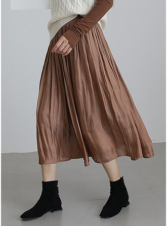 Polyester Plain Mid-Calf Pleated Skirts