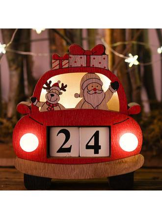Feliz Navidad Papa Noel Coche De madera Luces Diy Craft Calendario De Adviento De Navidad