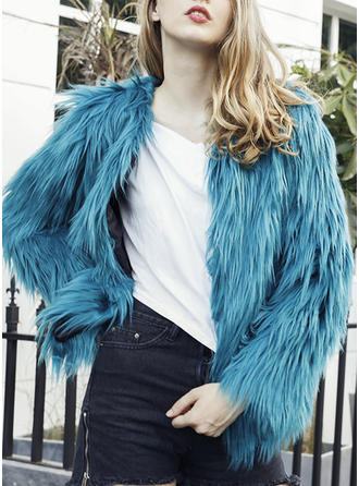 Faux Fur Long Sleeves Plain Woolen Coats