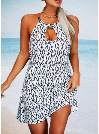 Print/Backless Sleeveless Shift Above Knee Casual Dresses