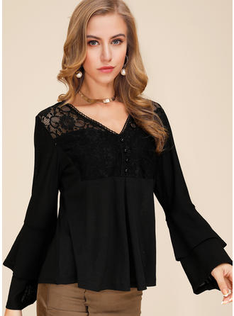 Solid Lace V neck Flare Sleeve Long Sleeves Button Up Casual Elegant Blouses