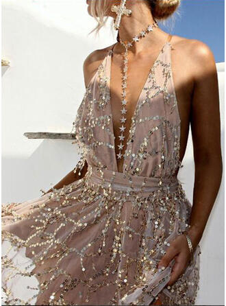Sequins Sleeveless A-line Above Knee Sexy Dresses