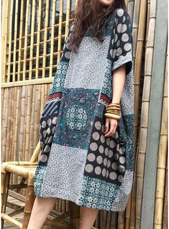 Cotton/Linen With Print Midi Dress