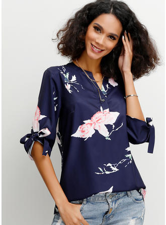 Print Floral V Neck 1/2 Sleeves Button Up Casual Blouses