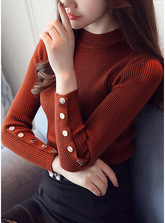 Cotton Stand Collar Plain Sweater