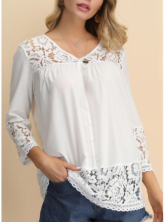 Solid Lace V Neck 3/4 Sleeves Button Up Casual Elegant Blouses