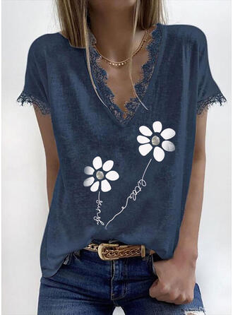 Print Floral Figure V-Neck Short Sleeves Casual Blouses