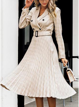 Plaid Long Sleeves A-line Midi Casual Dresses