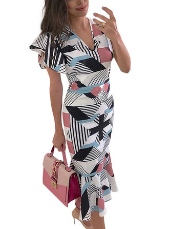 Color-block V-neck Midi Sheath Dress