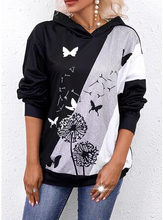 Imprimé Bloc de Couleur Pissenlit papillon Manches Longues Sweat-shirt