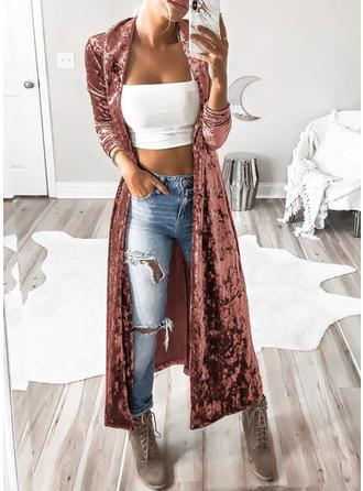 Velvet Long Sleeves Plain Wide-Waisted Coats