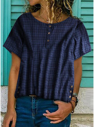 Print Round Neck Short Sleeves Button Up Casual T-shirts