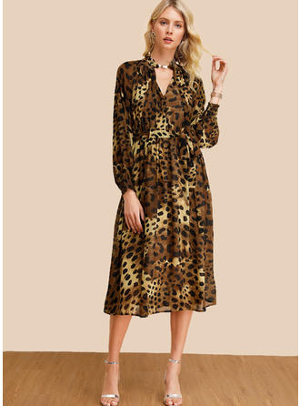 Animal Print Long Sleeves A-line Midi Casual/Elegant Dresses