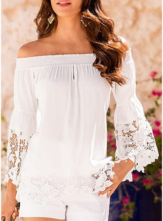 Solid Patchwork Lace Off the Shoulder Long Sleeves Casual Blouses