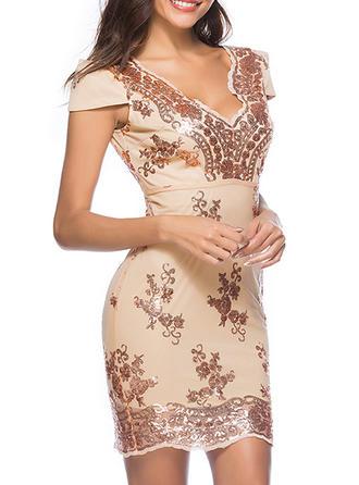 Sequins V-neck Above Knee Sheath Dress