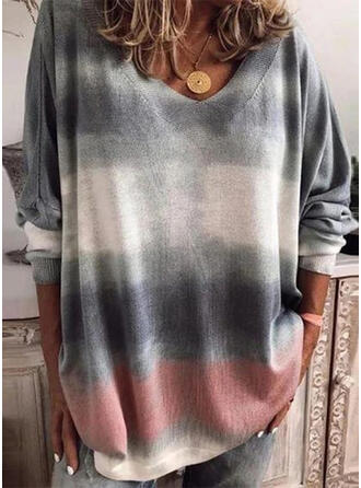 Tie Dye V-Neck Long Sleeves Casual Knit T-shirts