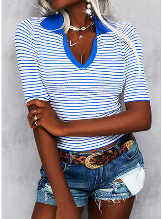 Print Striped Lapel Casual Sweaters