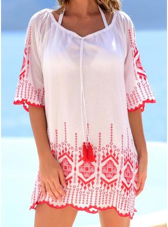 Dot Round Neck Elegant Fashionable Beautiful Cover-ups Swimsuits