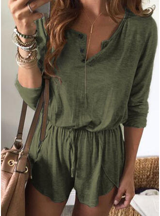 Solid V-Neck 3/4 Sleeves Casual Vacation Romper