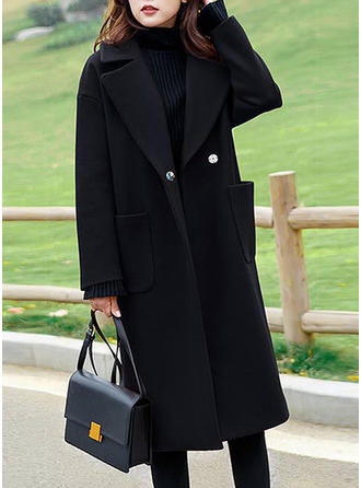 Polyester Long Sleeves Plain Woolen Coats