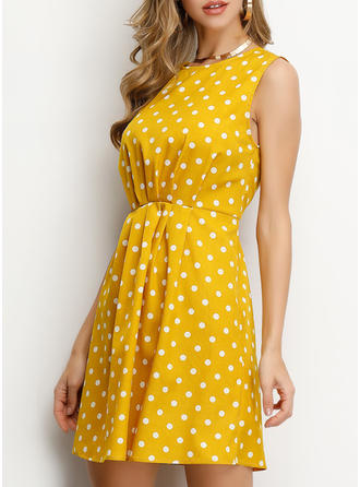 PolkaDot Sleeveless A-line Above Knee Casual/Vacation Dresses