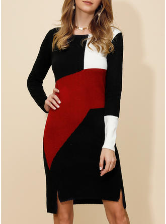 Color Block Long Sleeves Sheath Knee Length Casual/Elegant Dresses