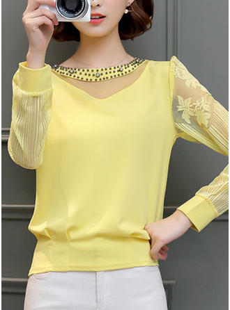 Chiffon Round Neck Lace 3/4 Sleeves Casual Blouses