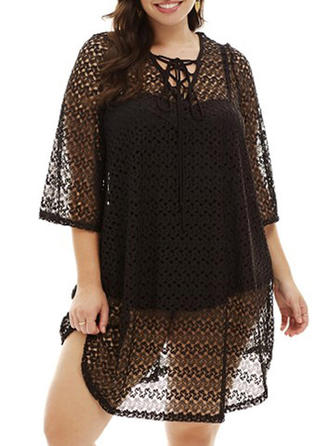 Solid Color V-neck Cover-up Swimsuit