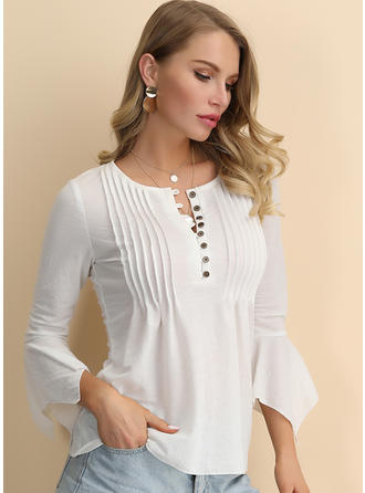 Solid Round Neck 3/4 Sleeves Casual Elegant Blouses